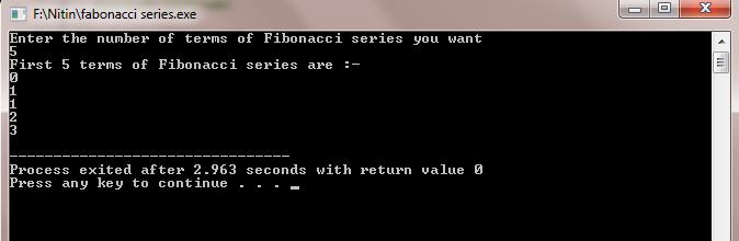 Write a program for fibonacci series in c using recursion