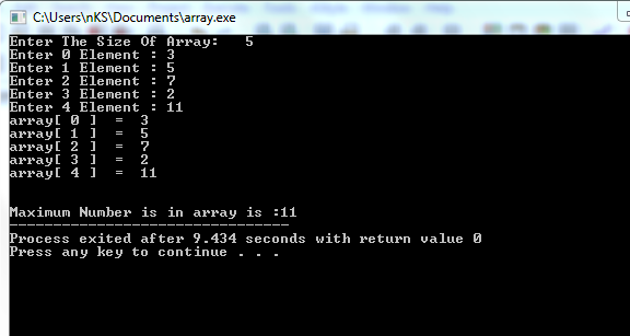 find maximum number in array c++