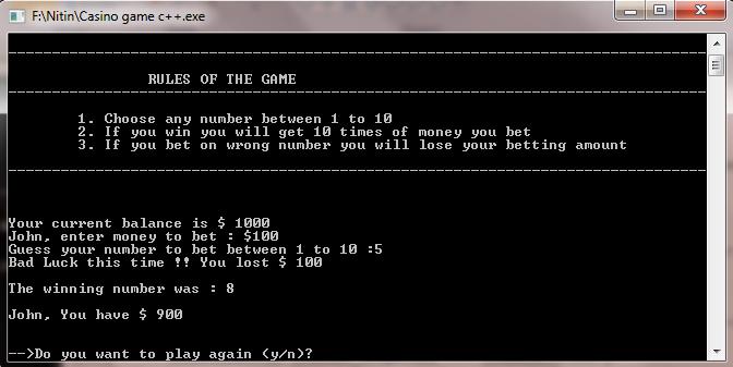 casino game c++