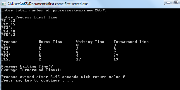 program for first come first serve